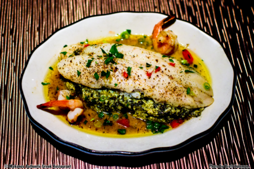 Island Fish – two pangasius fillets with spinach and a three cheese stuffing, sinfully seasoned, baked in the oven and served with shrimp